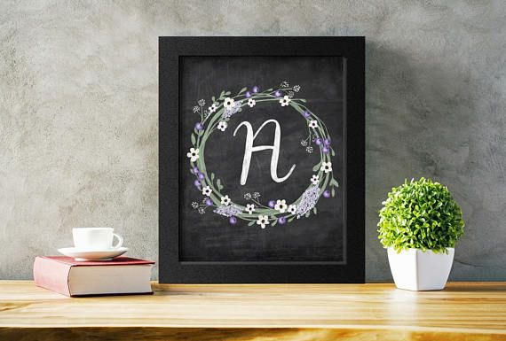 Printable Letter A Chalkboard Art.  Add a shabby chic touch to any decor with this initial A in a floral wreath.  Just download, print, and hang!  #monogramart #nurserydecor #initial