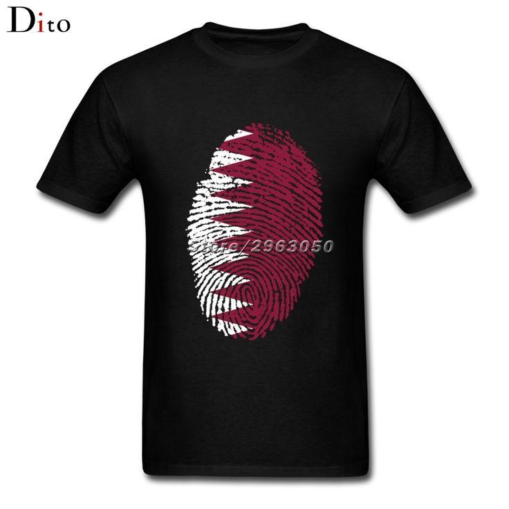 Qatar Flag Fingerprint Tee Shirt Men Male Summer Short Sleeve Thanksgiving Day Custom Plus Size Couple  T Shirts #Affiliate