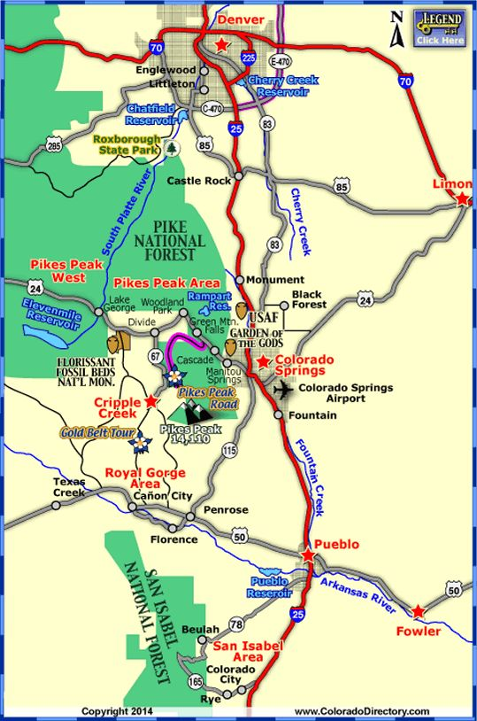 Map of Colorado Towns and Areas within 1 hour of Colorado Springs, Colorado Vacation Directory