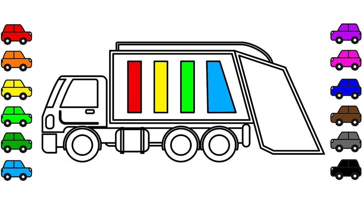 Car and truck colouring book for kids, Garbage truck coloring pages for ...