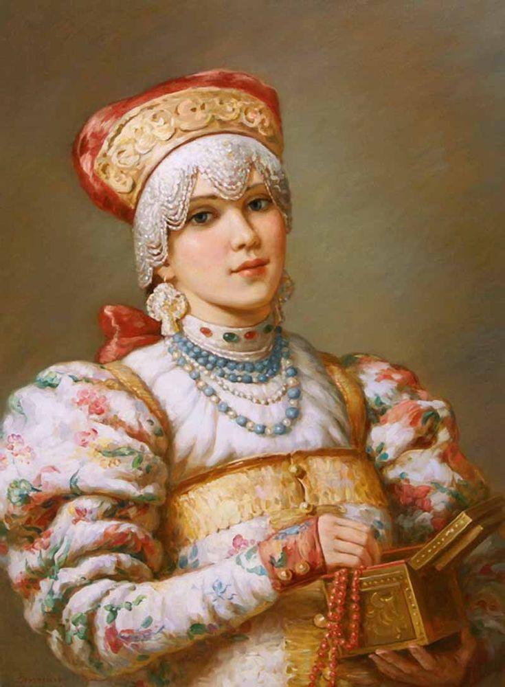 Russian costume in painting. Vladislav A. Nagornov. A Boyaryshnya with a…