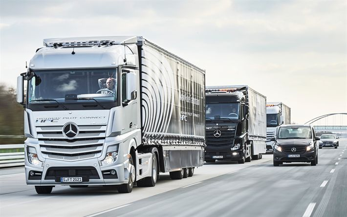 Download wallpapers Mersedes-Benz Actros, 2016, euro 6, German trucks, Mersedes V-class, trucking, Mersedes