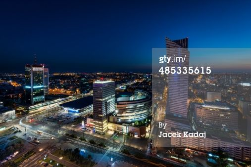 Panorama of Warsaw city center during the night, Poland