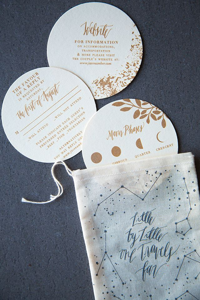 Shimmery Metallic Moon and Stars Wedding Invitations