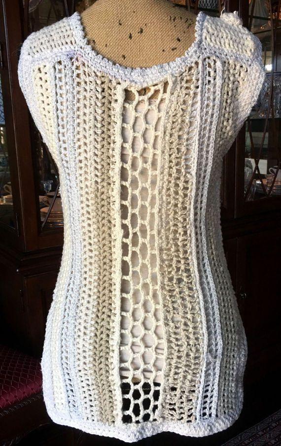 Freeform Crochet Spring/Summer Long Top door ClassyCrochetbyCathy