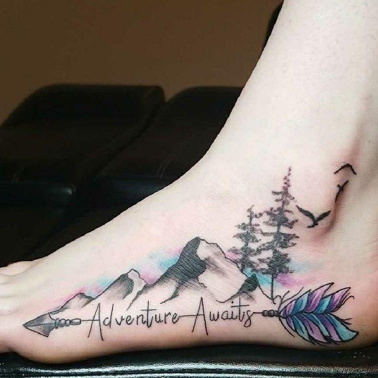 Eindrucksvolle Berg Tattoos Tatuaje Mountains – Elegantes Fußtattoo-Design … … – Super Cool Tattoos