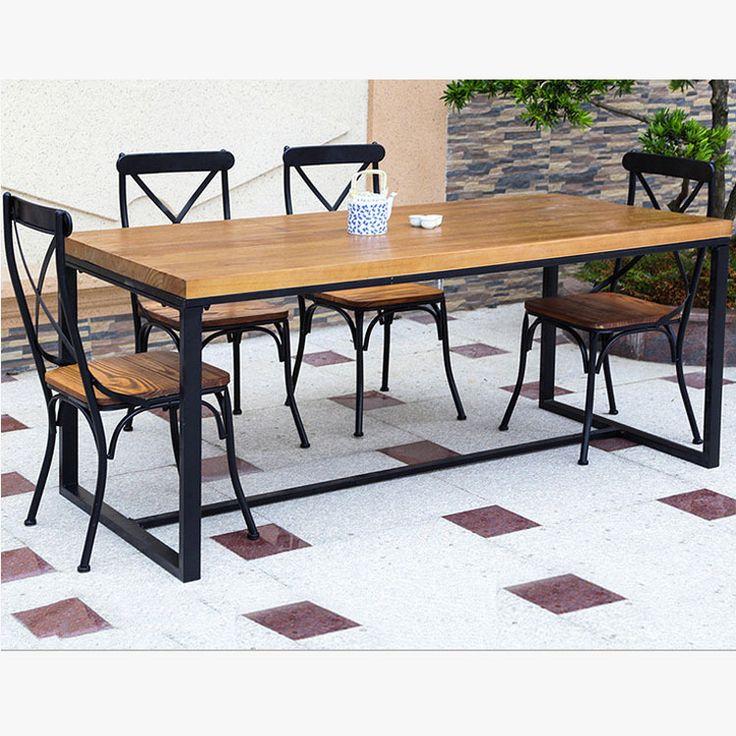 Кованая мебель на заказ американский кантри ретро столовая сочетание из натурального дерева обеденный стол и стулья сочетание фа