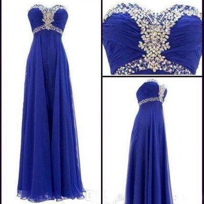 Long prom dress, royal blue prom dress, chiffon prom dress, sweetheart prom dress, cheap prom dress, party dress, bd1566