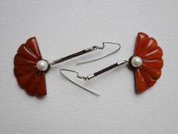Sterling silver and stainless steel cable earrings with pearl and amber Design&Handmade by K.Tokar