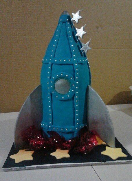 Son's third Birthday cake - Rocket Ship