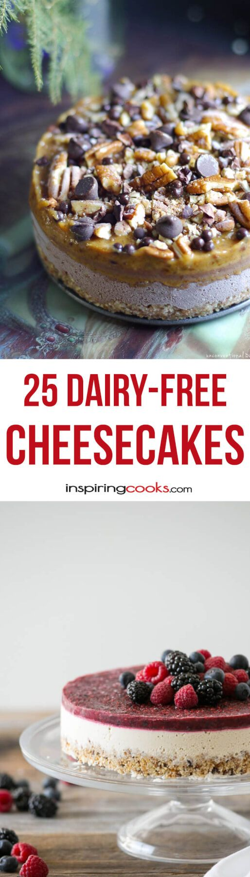 25 of The Best Ever Dairy-Free Cheese Cake Recipes on the planet. You won't have to do without cheesecake now if you have to eat dairy-free. Enjoy!