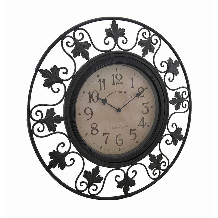 Scrolling Leafy Vine Black Metal Outdoor Wall Clock 23 in.