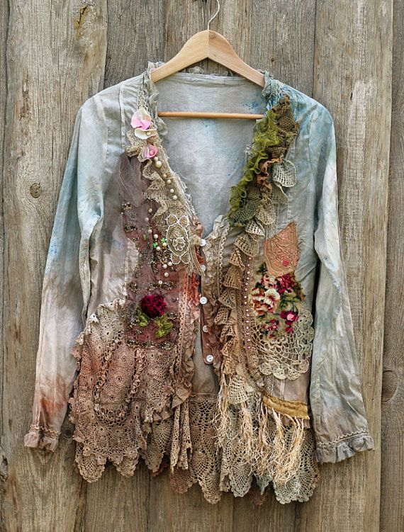 RESERVED for Marian -- Vagabond - extravagant bohemian romantic blouse, shabby, rustic, old lace, wearable art,