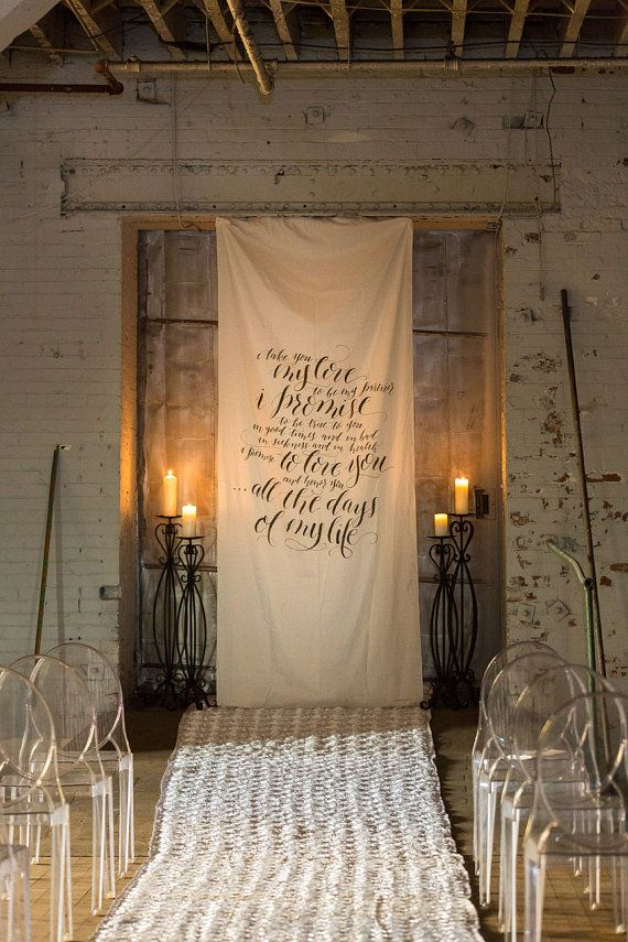 Calligraphy wedding vow fabric backdrop for ceremony cake