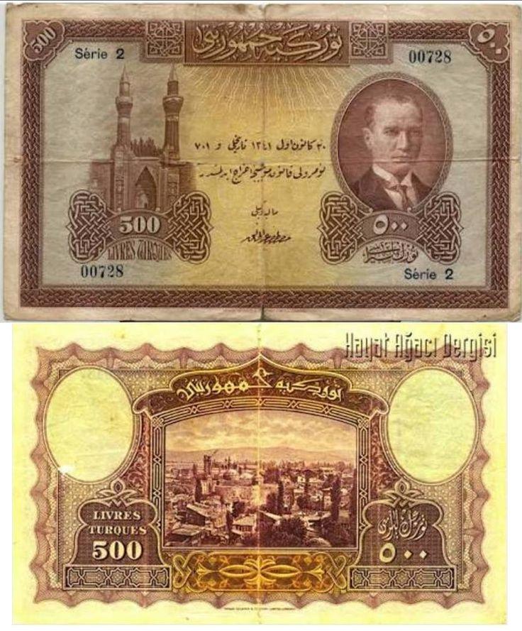 E1 BEŞYÜZ TÜRK LİRASI I. Tertip Tedavüle Çıkarıldığı Tarih 1927/05/12 Tedavülden Çekildiği Tarih 1939/06/15 Resim Ön Sivas Gökmedrese Atatürk Portresi Arka yüz Sivas'tan Bir Görünüm