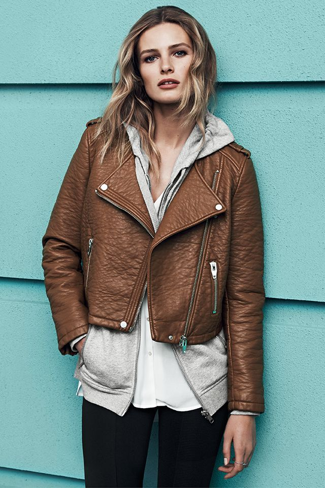 New season, new fashion! | Camel brown biker jacket #HMFall: