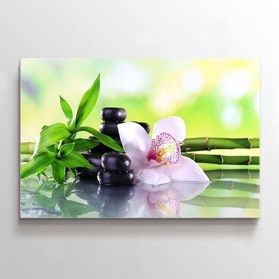 Large Wall Art Yoga Zen Stones Orchid Flower Canvas Print With