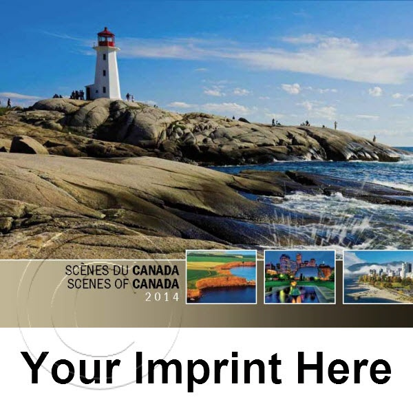 2014 Scenes of Canada English/French Bilingual Promotional Calendars feature a virtual cross country tour with 13 captivating images from each Canadian province and territory. Personalize your Bilingual Canada Calendars with your Business, Organization or Event; Name, Logo and Message for as little as $0.65