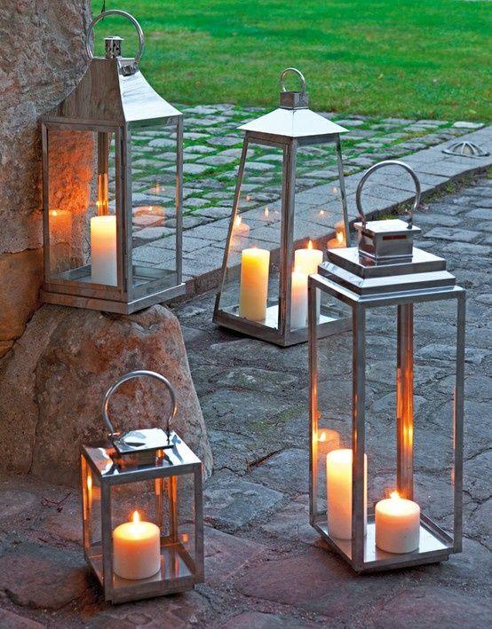 silver lanterns on the rocks