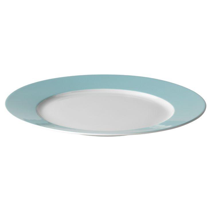IKEA 365+ Plate - white/light turquoise - IKEA