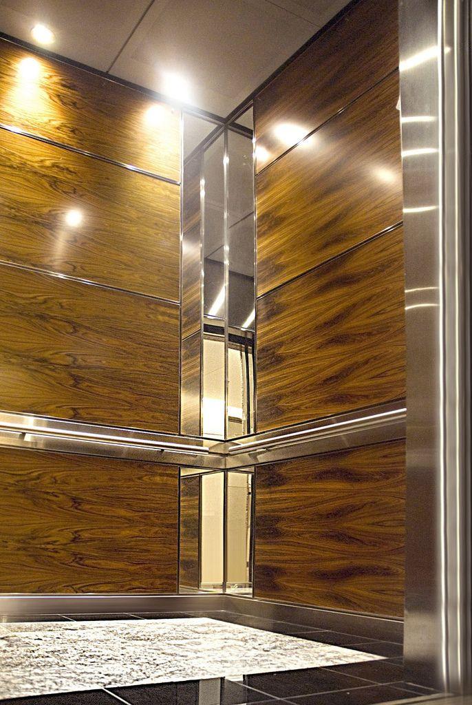 Veneer Clad Panels Elevator design, Elevator interior