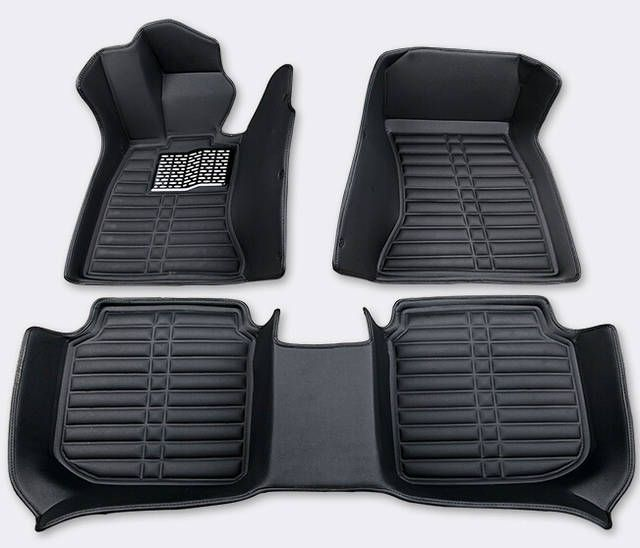 Custom Car Floor Front and Rear Mats Set for Toyota Honda Nissan Mazda Chevy and Other Brand Full Coverage All Weather Protection Waterproof Non-Slip Anti-Scratch Leather Black Beige