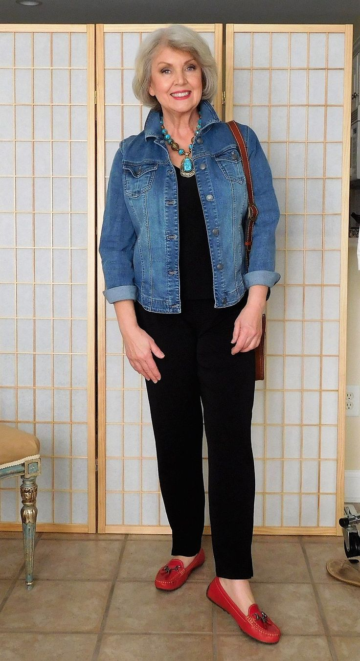 For this easy casual look, I added a faded denim jacket, red driving moccasins and a crossbody bag. If I wanted to dress this look up a little, I could add a vintage turquoise necklace.