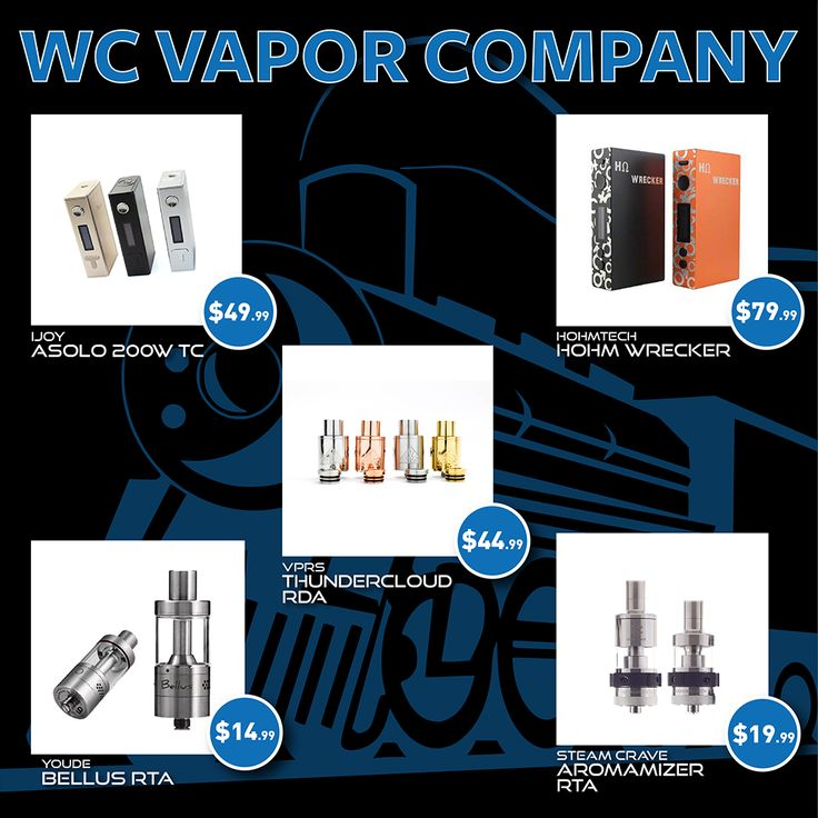 ★★★★★ SPRING SALE AT WC VAPOR ★★★★★ Asolo 200w TC Mod - $49.99 Hohm Wrecker 150w Mod - $79.99 Thundercloud RDA by VPRS - $44.99 Bellus RTA by Youde - $14.99 Aromamizer RTA by Steam Crave - $19.99 http://www.wcvaporcompany.com/