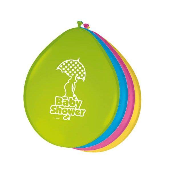 Een baby shower is een super leuke manier om je als familie, vrienden en aanstaande ouders voor te bereiden op de komst van de kleine. Zo´n feestje heeft decoratie nodig en deze ballonnen zijn ideaal als jullie niet willen weten wat het wordt of als jullie het niet willen verklappen. De 8 groene, oranje, roze en blauwe ballonnen hebben een leuke print. Afmeting: Ø 24 cmAantal: 8 stuks - Ballonnen Babyshower, 8st