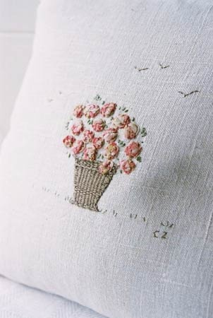 EMBROIDERY | Caroline Zoob Pink Peonies Embroidered on antique linen |