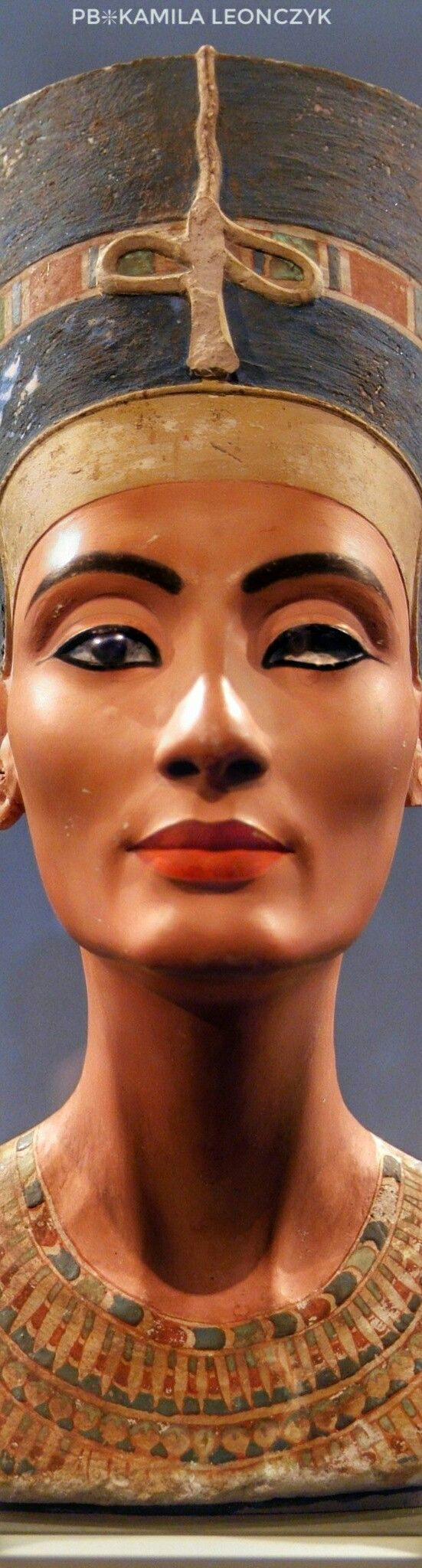 The iconic bust of Nefertiti is part of the Egyptian Museum of Berlin collection, currently on display in the Neues Museum - The Nefertiti Bust is a painted stucco-coated limestone bust of Nefertiti, the Great Royal Wife of the Egyptian Pharaoh Akhenaten.The work is believed to have been crafted in 1345 B.C. by the sculptor Thutmose, because it was found in his workshop in Amarna, Egypt