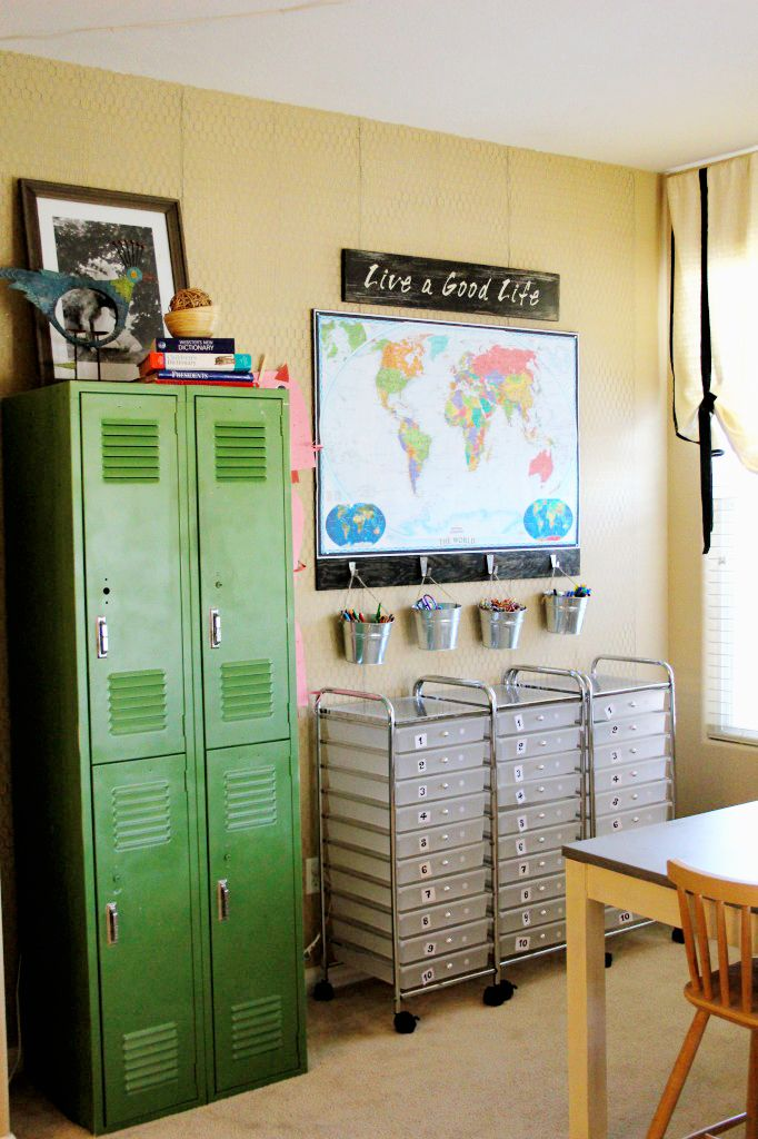 I love our homework box, it's been a lifesaver in our home. I dream one day of having an actual homework station or better yet room but for now this helps!