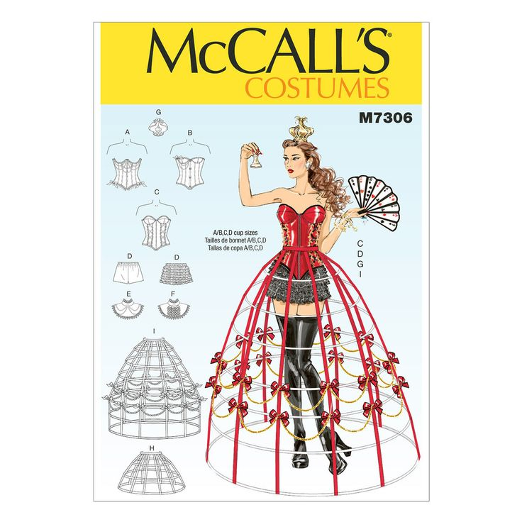 McCall's 7306 Sewing Pattern - Misses' Corsets, Shorts, Collars, Hoop Skirts and Crown