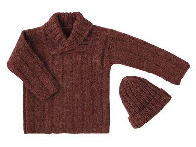Pour affronter le mauvais temps, voici un pull tout doux. Présenté dans le numéro d\'octobre 2009 d\'Enfant Magazine, il est tricoté en côtes 2/2 et point fantaisie. Il est assorti avec un bonnet en jersey.
