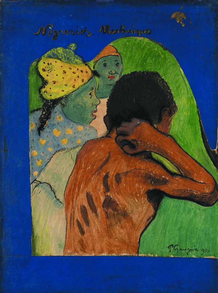 'Nègreries Martinique' by Paul Gauguin (1848 – 1903), one of the jewels of the Salon du dessin 2015. You will find this rare and exotic artwork at Jean-Luc Baroni. Gouache, watercolour, pen, dark blue ink and gold paint.