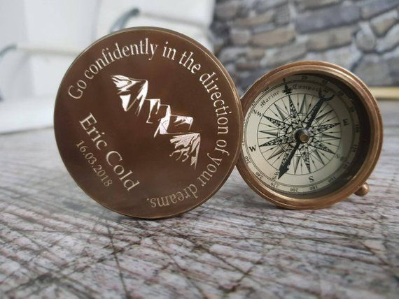 Personalized Compass Graduation Custom Engraved Compass