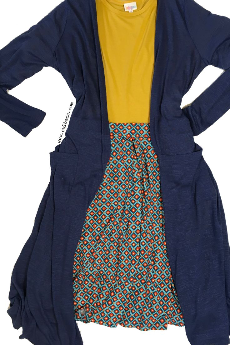 This skirt has POCKETS! LuLaRoe Madison skirt with mustard Irma and Blue Sarah cardigan. I'm in love with this fun, playful outfit! Shop for this or similar outfits here: Www.facebook.com/groups/LuLaRoe.rachelbatchler
