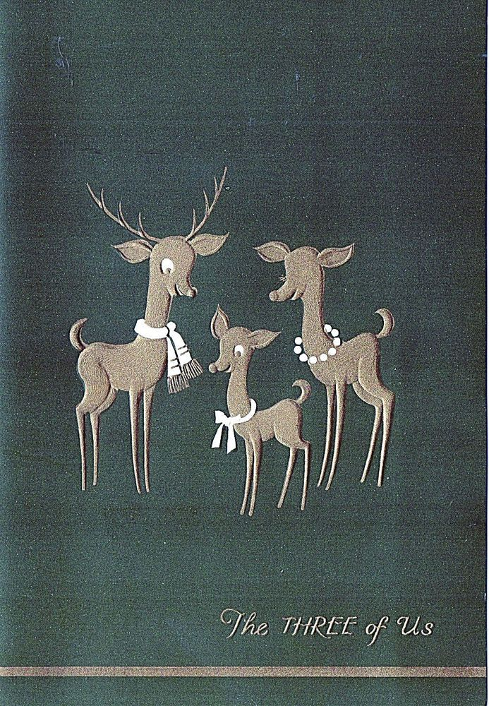 Vintg XMAS Greeting Card CUTE REINDEER FAMILY Embossed Gold on Green THE 3 OF US