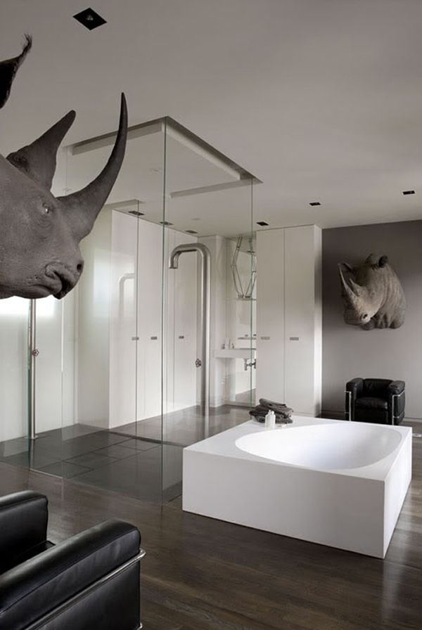 I could do without the Rhino heads, but the shape of the tub and the open space of this bathroom create a feeling of pure luxury.