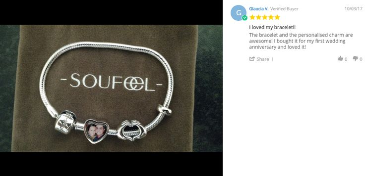 The bracelet and the personalized charm are awesome! I bought it for my first wedding anniversary and love it!