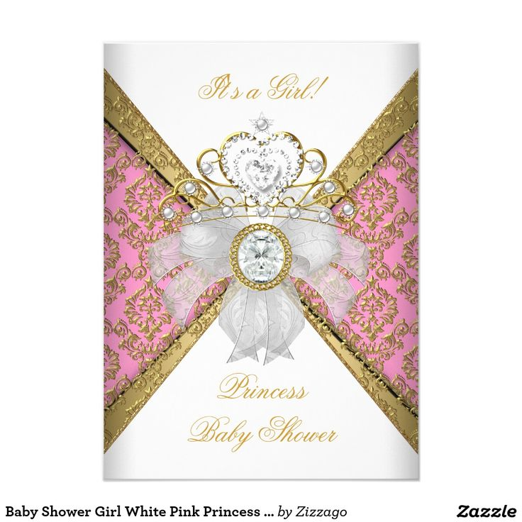 clever baby shower invitation wording%0A Shop Baby Shower Girl White Pink Princess Damask Card created by Zizzago   Invitation Cards