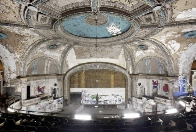 Forgotten Palaces in Decay   ... photographer has been sneaking into the theater to document its decay