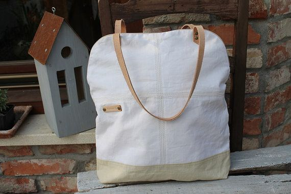 Tote bag White canvas  lady bag beige Leather strap by BYildi
