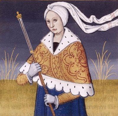 XLI-Lavinia, reine des Laurentins, fille de Latinus et d'Amata, et épouse d'Énée (LAVINIA, queen of Laurentum) -- Giovanni Boccaccio (1313-1375), Le Livre des cleres et nobles femmes, v. 1488-1496, Cognac (France), traducteur anonyme. -- Illustrations painted by Robinet Testard -- BnF Français 599 fol. 35v -- See also at: https://commons.wikimedia.org/wiki/File:Lavinia_BnF_Fran%C3%A7ais_599_fol._35v.jpg