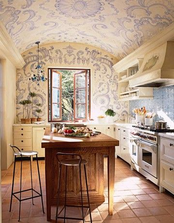 love the cabinetry and appliances, not sure about the ceiling and wall stencils.  I like it here but not sure it would transfer to most places