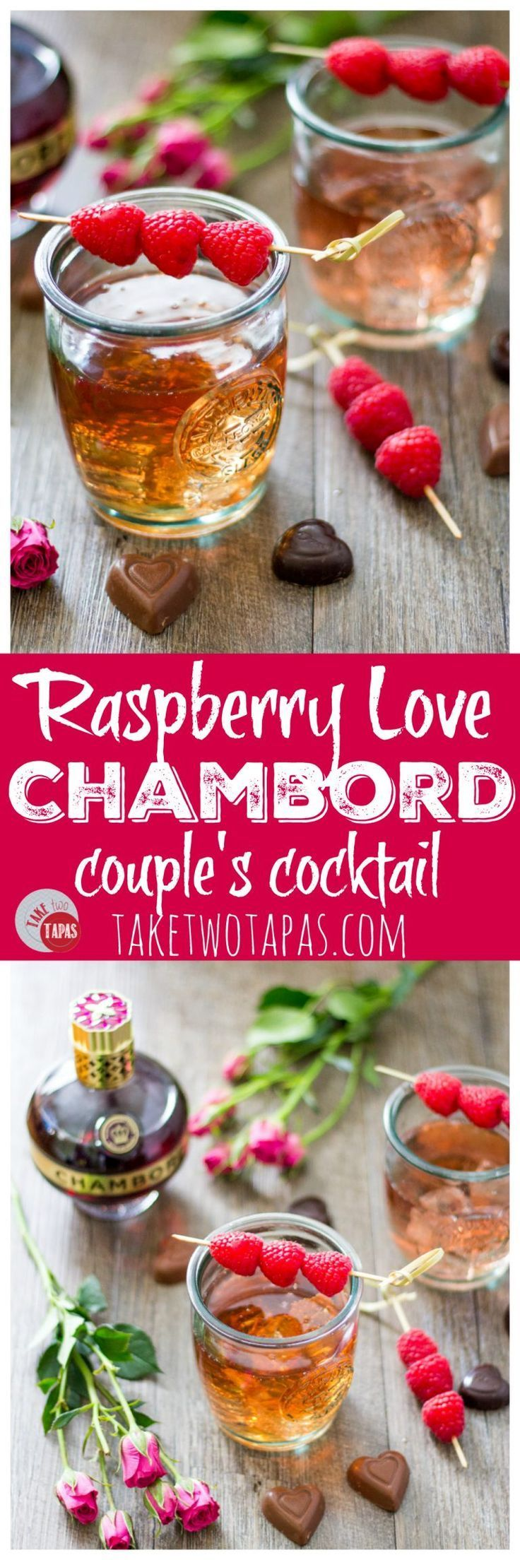 Chambord Raspberry liqueur mixed with bourbon and lemon-lime soda is the perfect way to celebrate with your date! Couples that drink together, stay together. Raspberry Love Cocktail | Take Two Tapas