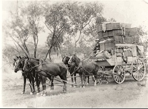 Christmas mail is delivered to Cloncurry, NSW by a Cobb & Co coach, 1908 v@e