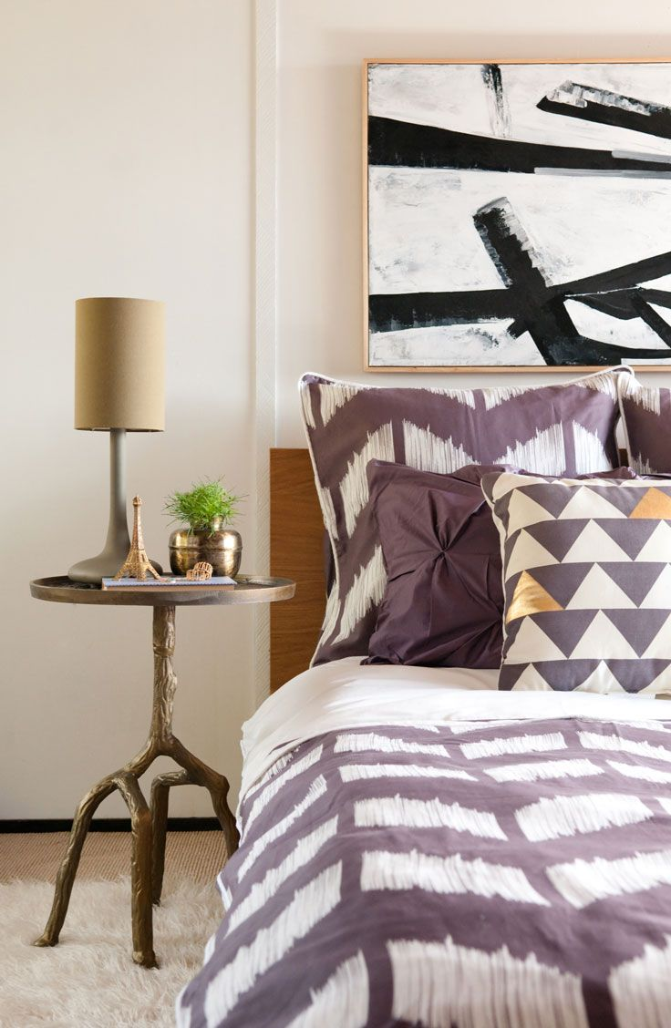 107 best as seen in bedroom inspiration and bedroom ideas images love the purple chevron of the crane canopy bedding with the franz kline white and black inspired artwork above bed