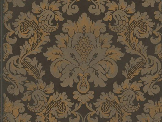 Обои устойчивые к мытью с роскошным рисунком Стравинский с золотым дамасками