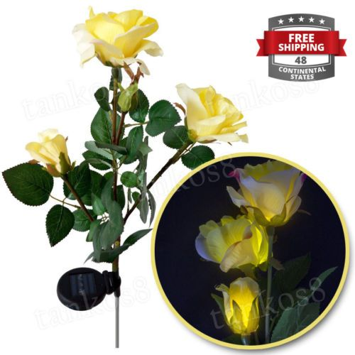 Decorative-Led-Lights-for-Garden-Yard-Outdoor-Rose-Solar-Yellow-Flower-Patio-New